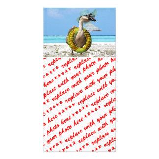 Funny Goose on Summer Vacation Custom Photo Card