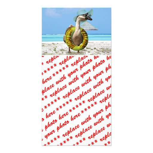 Funny Goose on Summer Vacation Custom Photo Card