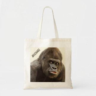 Funny Gorilla custom name tote bags