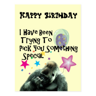 Funny Gorilla Humor Birthday Gift Postcard