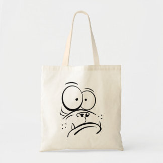 Funny gorilla looking confused cartoon image budget tote bag