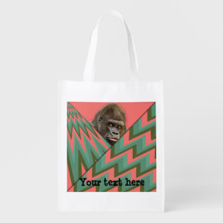 Funny Gorilla Pink Green Chevron Reusable Grocery Bag