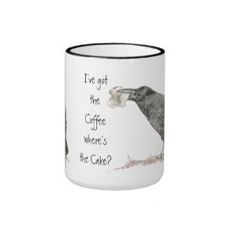Funny Got Coffee, Where's Cake? Ravens Bird Ringer Mug