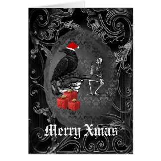 Funny  gothic crow black Christmas Card