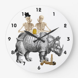 Funny gothic steampunk skeltons and rhino wall clocks