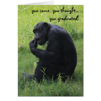 Funny Graduation Card, Chimpanzee, the Thinker Card