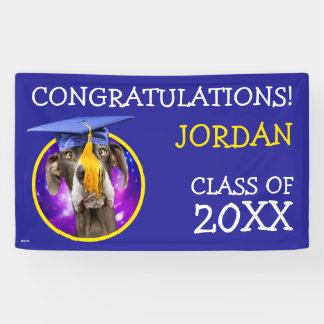 Funny Graduation Dog Wearing Hat Banner
