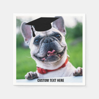 Funny Graduation French Bulldog Photo Custom Paper Napkin