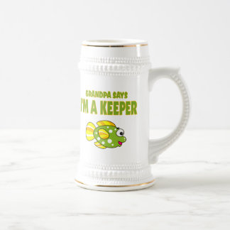 Funny Grandpa Says I'm A Keeper (Fish) Beer Steins