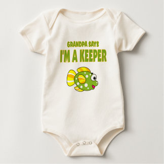 Funny Grandpa Says I'm A Keeper (Fish) Baby Bodysuits