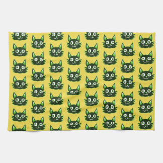 funny graphic cat head cartoon tea towel