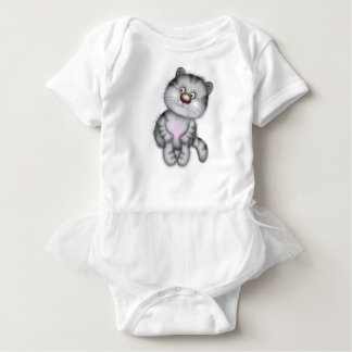 Funny gray cat, which will appeal to young childre baby bodysuit