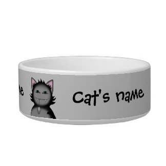 Funny gray cats bowl