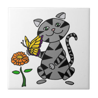 Funny Gray Tabby Cat Holding Butterfly Small Square Tile