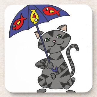 Funny Gray Tabby Cat Holding Umbrella Coaster