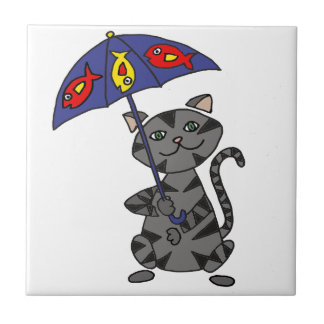 Funny Gray Tabby Cat Holding Umbrella Small Square Tile