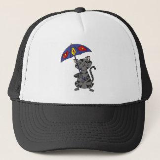 Funny Gray Tabby Cat Holding Umbrella Trucker Hat