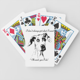 Funny Great Dane Spoiled Dog Humor Quote Bicycle Playing Cards