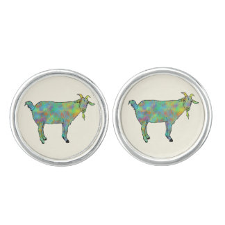 Funny Green Abstract Art Goat Animal Design Cufflinks