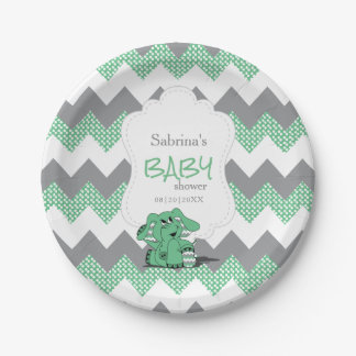 Funny Green Chevron Silly Cute Baby Elephant Paper Plate