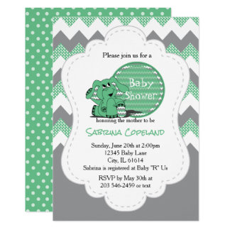 Funny Green Chevron Silly Elephant | Baby Shower Card