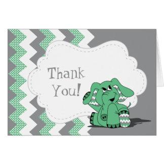 Funny Green Chevron Silly Elephant Card