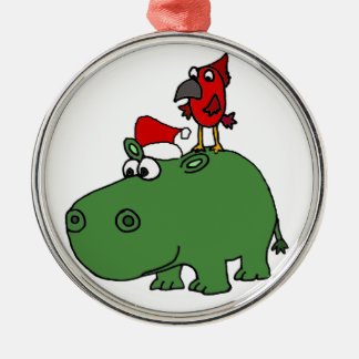 Funny Green Christmas Hippo Metal Ornament