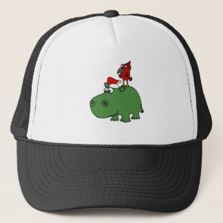 Funny Green Christmas Hippo Trucker Hat