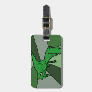 Funny Green Dinosaur Art Luggage Tag