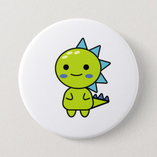 Funny Green Dinosaur Kawaii Cartoon 7.5 Cm Round Badge