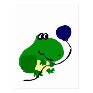 Funny Green Frog Holding Blue Birthday Balloon Postcard