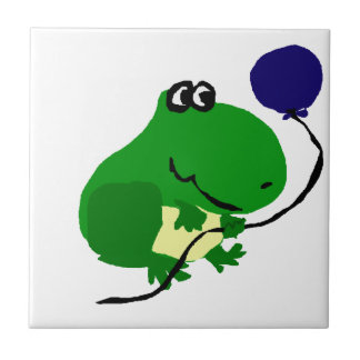 Funny Green Frog Holding Blue Birthday Balloon Small Square Tile