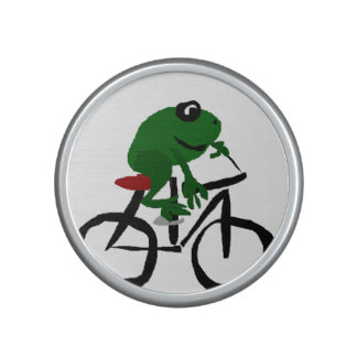 Funny Green Frog Riding a Bicycle Bluetooth Speaker
