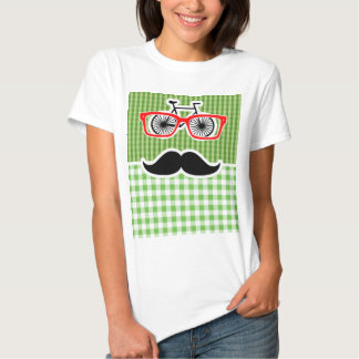 Funny Green Gingham Mustache Shirts