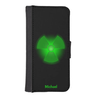 Funny green glowing radioactivity symbol iPhone SE/5/5s wallet case
