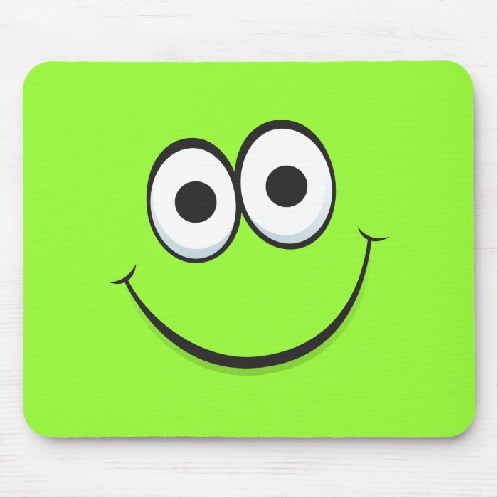 Funny green happy cartoon smiley face mousepads