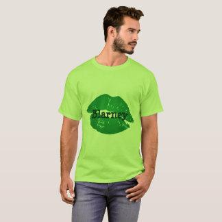 Funny Green Irish Kiss the Blarney Lipstick Print T-Shirt