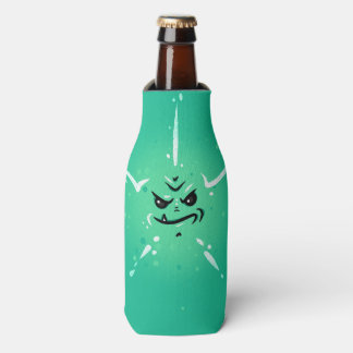 Funny Green Monster Face with Smirky Smile Bottle Cooler