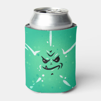 Funny Green Monster Face with Smirky Smile Can Cooler
