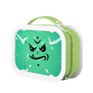 Funny Green Monster Face with Smirky Smile Lunch Box