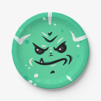 Funny Green Monster Face with Smirky Smile Paper Plate