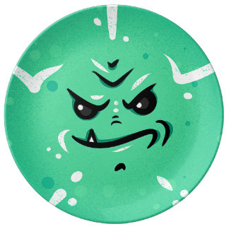 Funny Green Monster Face with Smirky Smile Plate