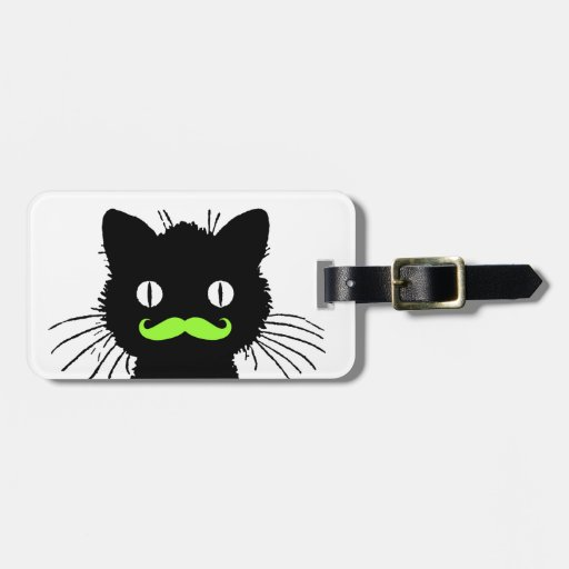 FUNNY GREEN MUSTACHE, BLACK CAT TAGS FOR LUGGAGE