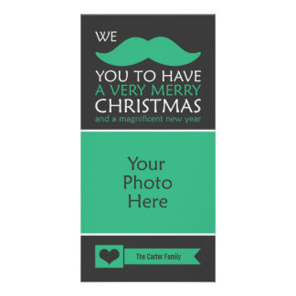 Funny Green Mustache Christmas Photo Card