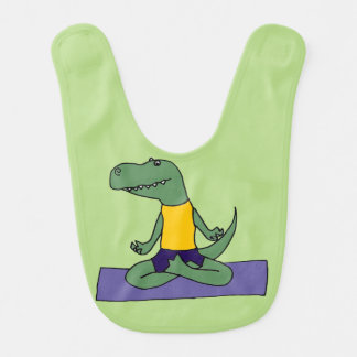 Funny Green T-Rex Dinosaur Doing Yoga Bib