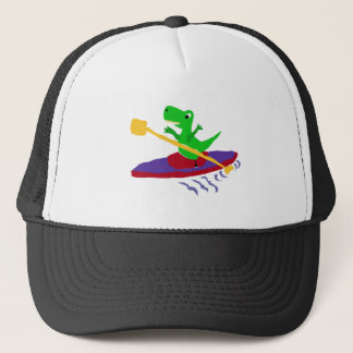 Funny Green T-Rex Dinosaur Kayaking Trucker Hat