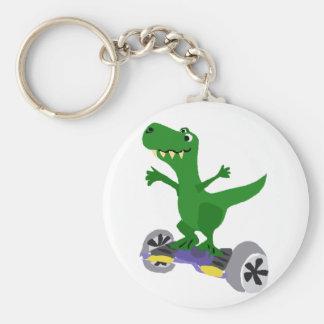 Funny Green T-Rex Dinosaur on Motorized Skateboard Key Ring