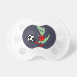 Funny Green T-rex Dinosaur Playing Soccer Baby Pacifier