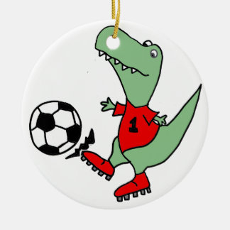 Funny Green T-rex Dinosaur Playing Soccer Ceramic Ornament