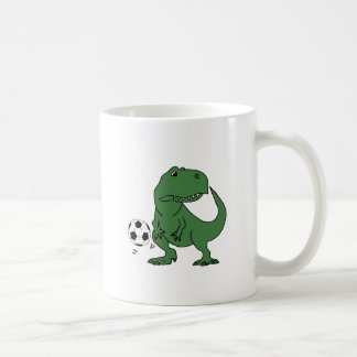 Funny Green T-rex Dinosaur Playing Soccer Coffee Mug